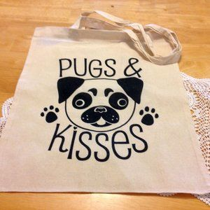 Pugs and Kisses tote, NWOT